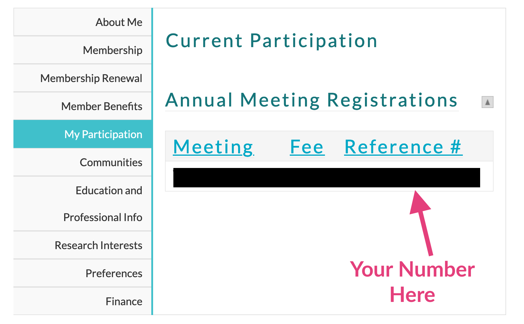 "A screenshot of an AAR member profile with an arrow pointing to the section that says ""Reference #""."